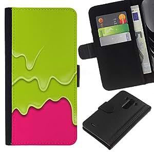 All Phone Most Case / Oferta Especial Cáscara Funda de cuero Monedero Cubierta de proteccion Caso / Wallet Case for LG G3 // Pink Paint Drips Vibrant