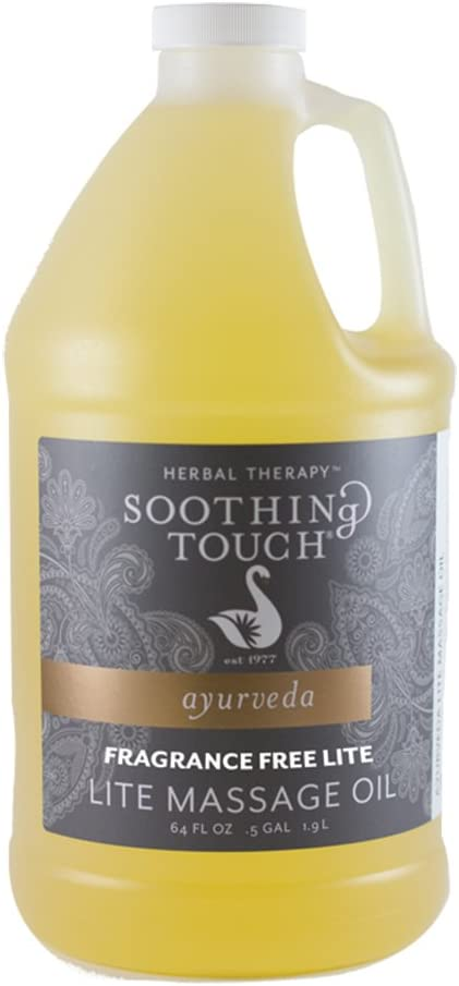 Soothing Touch, Fragrance Free Lite Massage Oil, 1/2 Gallon (64oz)