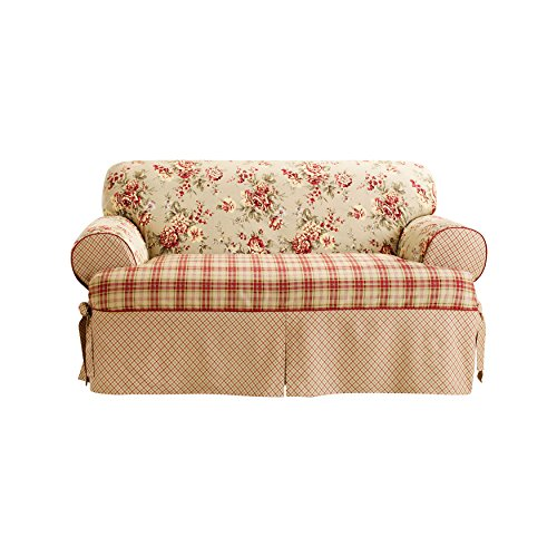 SureFit Lexington Relaxed Fit 1 Piece Box Cushion Loveseat Slipcover, Multi (Country Loveseats Style)