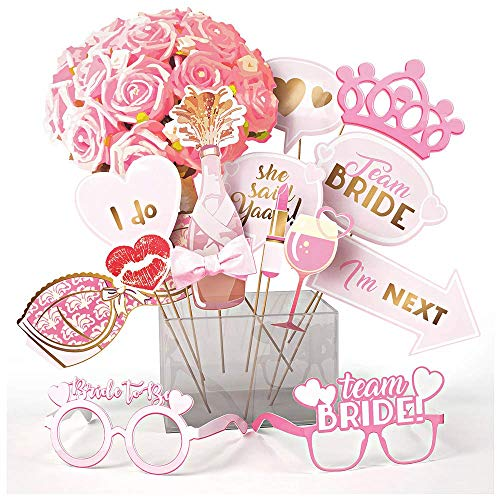 Bachelorette and Bridal Shower Photo Booth Props, 15 Pcs. Hen Party Decorations and Supplies Kit with Assorted Designs and Sticks Best for Engagement Parties & Selfies, Fun Signs for Bride To Be -