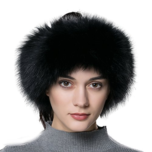 URSFUR Women Fur Headband Real Fox Fur Knitted Scarf Ear Protector Black