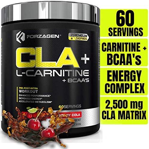 Forzagen Cla + L Carnitine + Bcaa Powder - Bcaas Amino Acids with Cla Powder Increase Energy Free Caffeine Pre Workout   60 Servings   Keto Burn   Premium Cla Supplements (Cherry Cola) 1