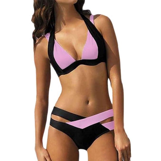 UZZHANG Halter Traje de baño para Las Mujeres Color Block Bikini Set Vendaje Traje de baño Corte Inferior Abrigo Sujetador Traje de baño para la Playa: ...