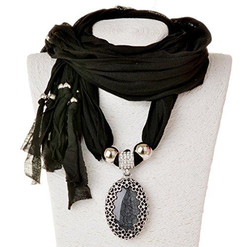 Scarf Necklace, SUMAJU Shawl Necklace Scarves Pendant Black Oval Resin Fabric Hollowed Flower Little Rhinestone
