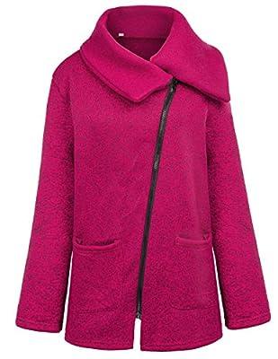 Grace Karin Womens Casual Lapel Collar Oblique Zipper Pocket Jacket Coat