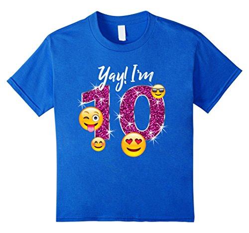 Kids Funny Emoji Birthday T-Shirt Gift for 10 Year Old Girls 12 Royal Blue
