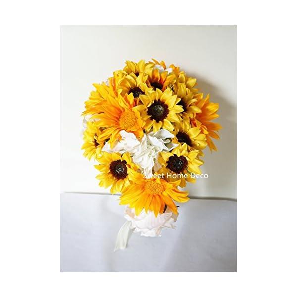 Sweet Home Deco Silk Sunflower Artificial Flower Bouquet/Flower Boutonniere Wedding Flowers (Yellow Cascading Bouquet)