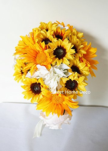 Sweet Home Deco Silk Sunflower Artificial Flower Bouquet/Flower Boutonniere Wedding Flowers (Yellow Cascading Bouquet)
