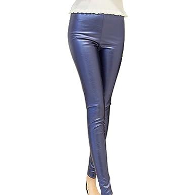 b66d339314013 Zhhlaixing Women Fashion Thin PU Leather Trousers Pencil Pants ...