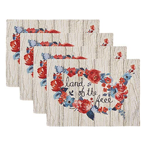 Windham Home Patriotic Americana Tapestry Fabric Placemats, Set of 4 (Floral Land of The Free USA - Placemat Set Free