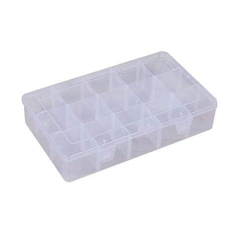VORCOOL 15 Rejillas Plásticas de Joyería Caja Transparente de Joya Diamentes Pendiente Anillo Contenedor de Almacenamiento