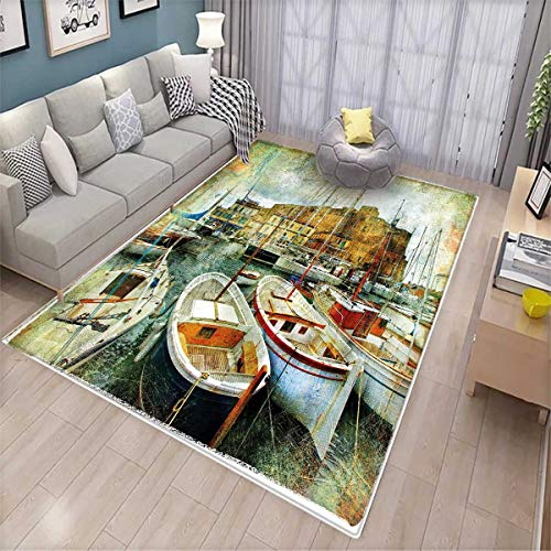 Naples Decor - Marine Girls Rooms Kids Rooms Nursery Decor Mats Naples Small Boats at Historical Italian Coast with Heritage Castle Nautical Artwork Door Mat Indoors Multicolor