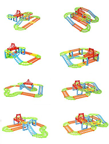 Erencook Electronic Racing Car track Kids Toy Childrens Game Boys Xmas Gift Rail Building Block Toy (Colorful)