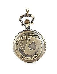 Montre de poche Pendant Necklace Antique Vintage Brass Chain Quartz Pocket Watch Poker Card Ace
