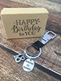 18th Birthday ~ Black Leather Keepsake Genuine Leather Key Chain with Gift Packaging for Boy or Girl 18 Birthday Gift