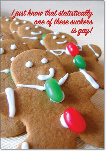 - 12 'One is Gay' Boxed Christmas Hilarious Greeting Cards with Envelopes 4.63 x 6.75 inch, Merry Xmas Note Cards with Gingerbread Men and Funny Caption, Stationery for Holidays, Gifts, Jokes B1081