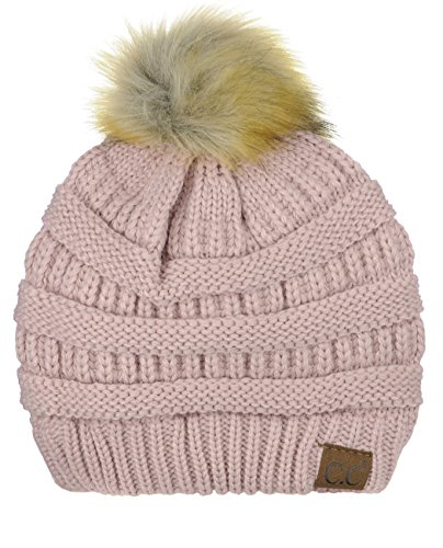 - NYFASHION101 Exclusive Soft Stretch Cable Knit Faux Fur Pom Pom Beanie Hat - Rose