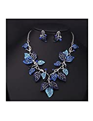 XY Fancy Fashion Hot Style Silver Plated Crystalmulti Color Leaf Necklace Earring Set Party Jewelry