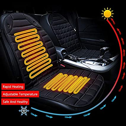 Heated Car Seat 12V Car Front Seat Hot Heater Heated Pad Heated Car Seat Covers Cushion Winter Warmer Cover with Temperature Controller,Singleseat