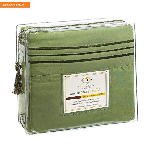 Mikash New Soft Premier 1800 Collection Deluxe Microfiber 3-Line Bed Sheet Set, Calla Green, Full (Double) Size | Style 84597480