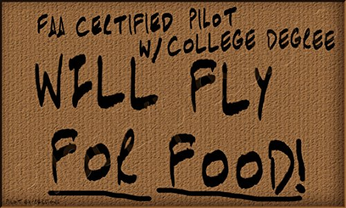 Will Fly For Food! Aviation Decal/Sticker. Aviation Humor and Pilot Gifts