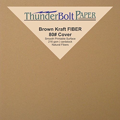 "200 Brown Kraft Fiber 80# Cover Paper Sheets - 4"" X 4"" (4X4 Inches) Small Square Card Size - Rich Earthy Color with Natural Fibers - 80lb/pound Cardstock - Smooth Finish"