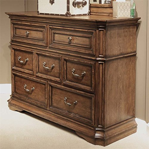 Liberty Furniture Amelia Bedroom 7-Drawer Media Dresser, Antique Toffee Finish