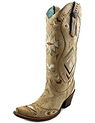 Corral Womens Ethnic Pattern Whip Stitch Western Boots