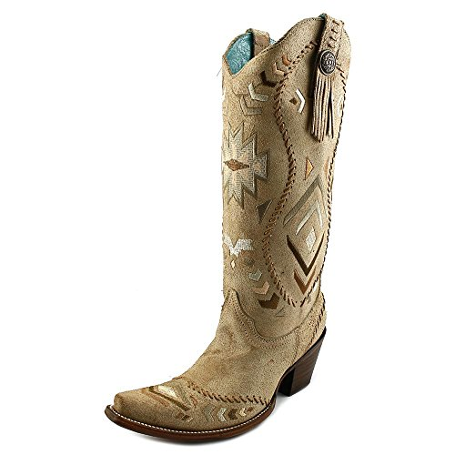 Corral Womens Ethnic Pattern Whip Stitch Western Boots Bone, Tan