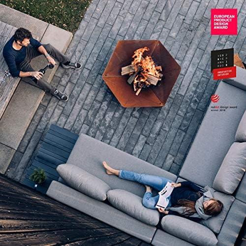 höfats - Triple 120 Brasero - Cheminée et Gril Design - pour terrasse et Jardin - Acier Corten Aspect Rouille