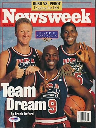 Magic Johnson Signed 7/6/1992 Newsweek Magazine Autograph Auto 5A94586 - PSA/DNA Certified - Autographed NBA Magazines
