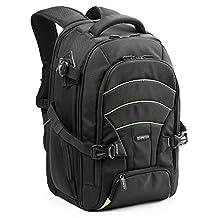 Evecase Professional Large DSLR Camera/Lens Kit/Laptop Travel Backpack for Canon EOS 70D, 60D, 7D, T6s, T6i, T5i, T5, T4i, T3, T3i SLR - Black/Green