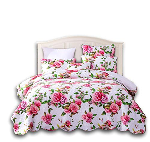 (DaDa Bedding Romantic Roses Bedspread - Lovely Spring Pink Floral Scalloped Colorful - Bright Vibrant Quilted Coverlet Set - Queen - 3-Pieces)