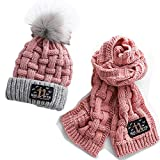 PANDLY 2Pcs Kids Winter Knitted Hats+Scarf Set Warm Fleece Lining Cap for 4-12 Year Old Boys Girls...