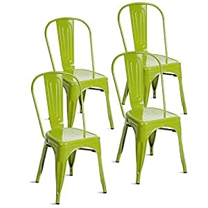 Merax Indoor-Outdoor Use Tolix Style Metal Bistro A Dining Side Chair Stackable Highback Chic Cafe Side Chair Set of 4, (Lime Green)