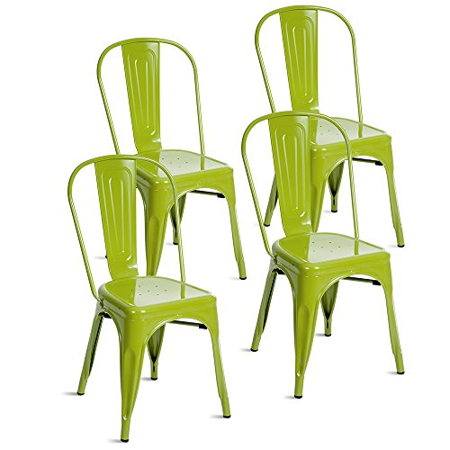 Merax Indoor-Outdoor Use Tolix Style Metal Bistro A Dining Side Chair Stackable Highback Chic Cafe Side Chair Set of 4, (Lime Green) (Bistro Chairs Metal)