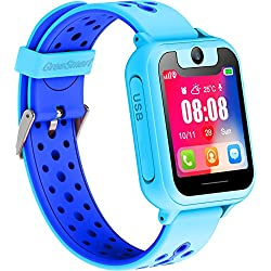 Kids Smartwatch for Boys Girls - GPS Tracker Phone Remote Monitor Camera Game Anti Lost Alarm Clock App Control by Parents for Children, Android iPhone (01 S6 Blue)