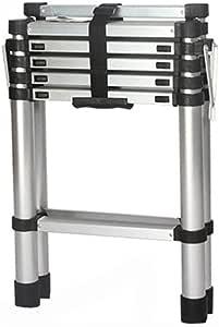 J-Escalera de Tijera Portátil Paso Escaleras de aluminio Escaleras telescópicas, telescópica con un solo botón Extensión sistema de retracción del hogar Escalera portátil o Ingeniería: Amazon.es: Bricolaje y herramientas