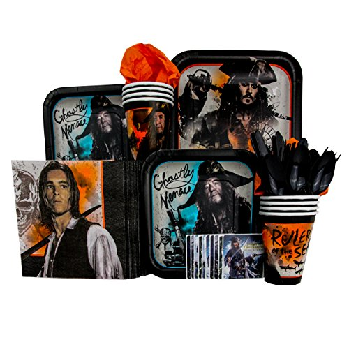 Price comparison product image Disney Pirates Of The Caribbean Party Pack Seats 8 - Napkins, Plates, Cups, Cutlery & Stickers - Pirates of the Carribean: Dead Men Tell No Tales 2017 Movie Party Supplies, Deluxe Party Pack