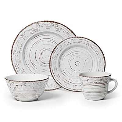 Pfaltzgraff Trellis White 16-Piece Stoneware Dinnerware Set, Service for 4 - This 16-piece dinnerware set, service for four, includes 4 each of: 11-inch dinner plate, 8-inch salad plate, 6-inch soup cereal bowl and 14-ounce mug Reminiscent of a metal trellis painted white then weathered by the elements over time, this unique dinnerware has a subtle scroll pattern and is accented by dark markings that give it an aged, worn look Made from high-quality stoneware for long lasting beauty and durability - kitchen-tabletop, kitchen-dining-room, dinnerware-sets - 5149ZTnBDOL. SS400  -