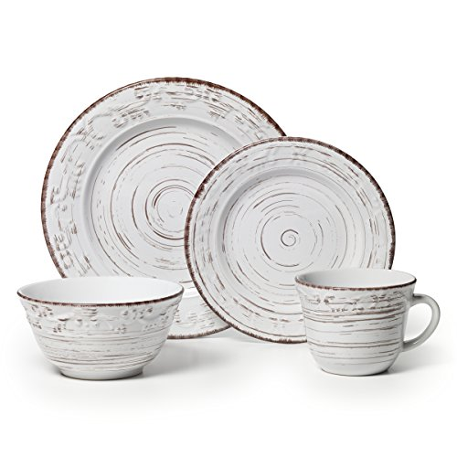Pfaltzgraff Trellis White 16-Piece Stoneware Dinnerware Set, Service for 4 - Collection 8 Piece Dinner Plates