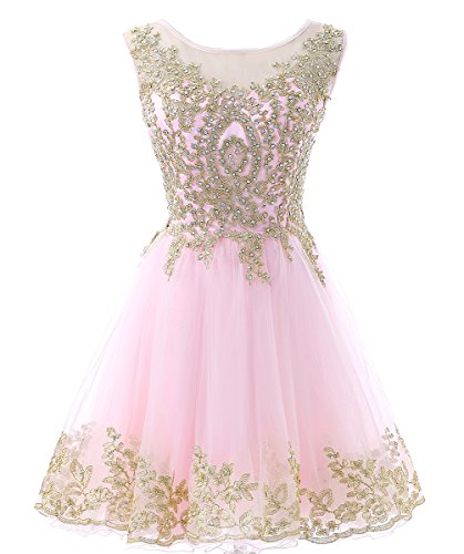 (HEIMO Gold Lace Beaded Homecoming Dresses Short Sequined Appliques Cocktail Prom Gowns H130 8 Pink)