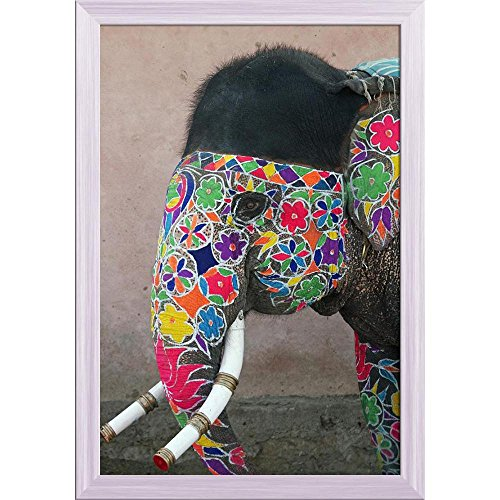 (Pitaara Box Annual Elephant Festival in Jaipur India Canvas Painting White Frame 16 X 23.5Inch)