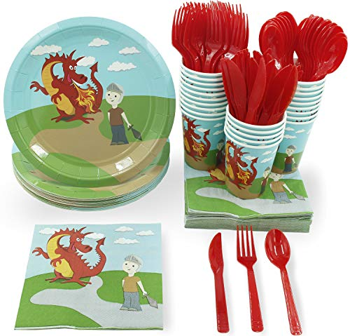 Disposable Dinnerware Set - Serves 24 - Dragon Party Supplies for Kids Birthdays Includes Plastic Knives, Spoons, Forks, Paper Plates, Napkins, Cups]()