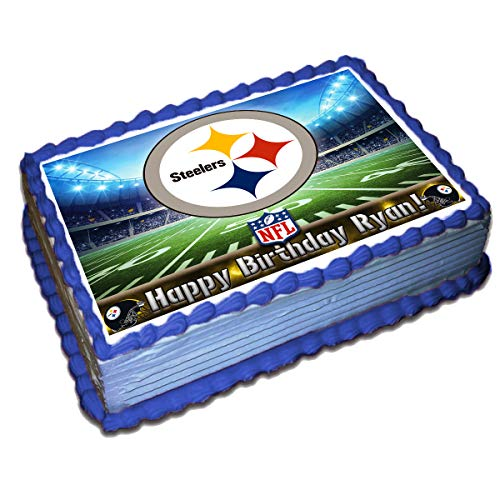 (Pittsburgh Steelers NFL Personalized Cake Topper Icing Sugar Paper 8.5 x 11.5 Inches Sheet Edible Frosting Photo Birthday Cake Topper (Best Quality)