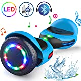 TOMOLOO Hoverboard with Bluetooth and LED Lights Two-Wheel Self Balancing Scooter with UL2272 Certified, 6.5' Wheel Electric Scooter for Kids and Adult(Q1C Blue)