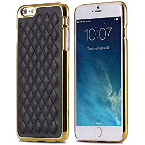 Casual Retro Affordable items Luxury Grid Lattice Skin PU Leather Slim Case for iphone 6 4.7 Hard Phone Back Cover Gold Black --- Color:black silver