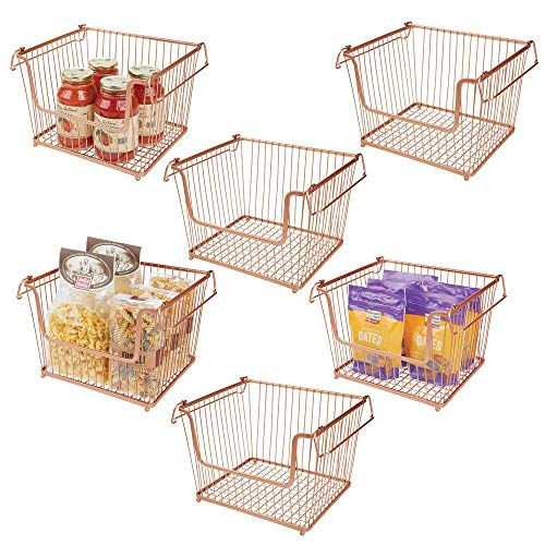 mDesign Modern Stackable Metal Storage Organizer Bin Basket with Handles, Open Front for Kitchen Cabinets, Pantry, Closets, Bedrooms, Bathrooms - Large, 6 Pack - Copper