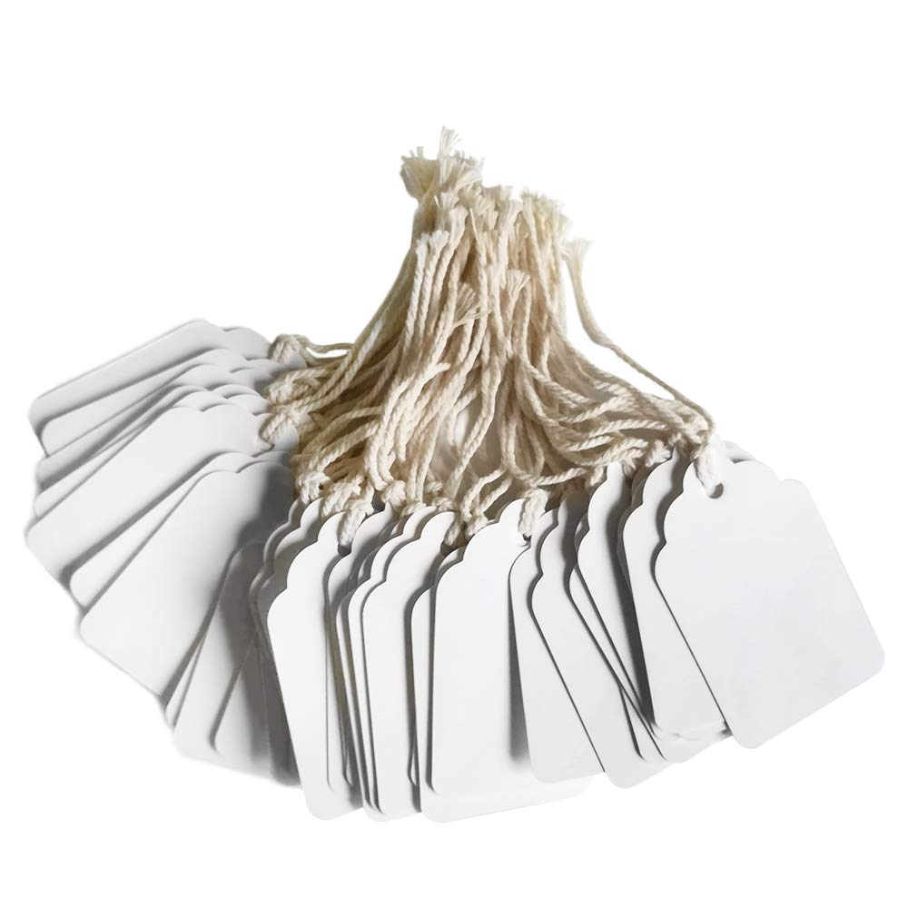 White Marking Tags Price Tags Price Labels Display Tags with Hanging String, 100 Pack, 44 x 70 mm by Korty