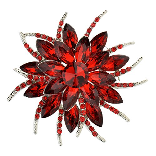Ginasy Wedding Corsage Pretty Rhinestone Jewelry Bling Crystal Brooch Pin (Red) - Sterling Silver Butterfly Brooch Pin